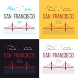 Ilustracje ustawiać San Fransisco Golden Gate Bridge Zdjęcia Royalty Free