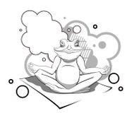 Ilustracyjna żaba relaksuje na białym tle Fotografia Stock
