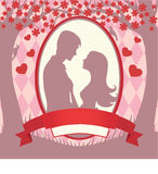 Ilustracyjna czarna sylwetka kochankowie obejmuje na białym tle Fotografia Stock