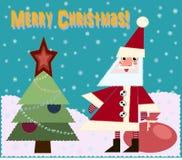 Ilustracyjna kartka bożonarodzeniowa z słodkim Christm i Święty Mikołaj Zdjęcia Stock