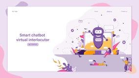 Ilustracyjna Mądrze Chatbot Wirtualna rozmówca ilustracja wektor