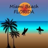 Ilustracyjna Miami plaża Z palmami royalty ilustracja