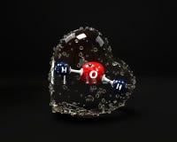 Ilustracyjna molekuła woda z condinsation sercem dalej Zdjęcia Stock