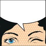 Ilustracyjna piękna ciemnowłosa kobiet mrugnięć bąbla mowa Zdjęcia Stock