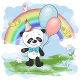Ilustracyjna pocztówkowa śliczna mała panda z balonami na tle tęcza i chmury Drukuje na odzie?owego i dzieci s pokoju royalty ilustracja