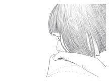 Ilustracyjna rysunek dziewczyna na kanapie troszkę Royalty Ilustracja