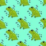 Ilustracyjna zielona żaba z motylami, tło bezszwowy wzoru Fotografia Stock