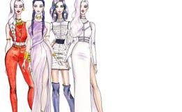 Ilustracyjne modne dziewczyny na zakupy Moda sztuki nakreślenie piękna młoda kobieta ilustracja wektor