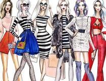 Ilustracyjne modne dziewczyny na zakupy Moda sztuki nakreślenie piękna młoda kobieta w sukni ilustracji