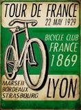 Ilustracyjnego nakreślenia wycieczki turysycznej de France rocznika rowerowy plakatowy rower Obrazy Stock