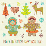 ilustracyjni karciani boże narodzenia Zdjęcie Royalty Free