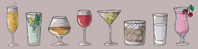 Ilustracyjni koktajle, bar wektor koktajl Fotografia Royalty Free