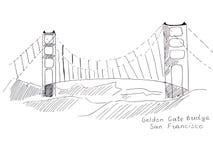 Ilustracyjni nakreślenie punkty zwrotni San Fransisco: Golden Gate Bridge Zdjęcie Royalty Free
