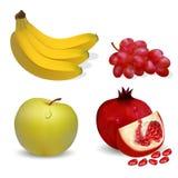 Ilustracyjni owoc jabłczanego banana winogrona i granatowowie na wh Zdjęcia Stock