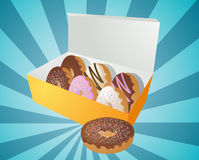 ilustracyjni pudełkowaci donuts ilustracji