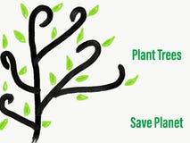 Ilustracyjni rośliien drzewa Save planetę Obraz Royalty Free