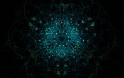 Ilustracyjny abstrakta wzór zielone liny w postaci fantastycznego kwiatu z ornamentami na czarnym tle dla sieć projekta Obraz Royalty Free