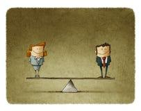 Ilustracyjny biznesmen i bizneswoman na równowadze royalty ilustracja