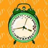 Ilustracyjny budzik który pokazuje sezony Pocztówka która przypomina o wakacjach bezszwowy wzoru Obraz Royalty Free