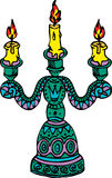 Ilustracyjny candlestick z trzy płonącymi świeczkami royalty ilustracja