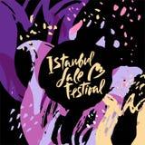 Ilustracyjny Istanbuł Lala festiwal, kwiatu festiwal na ręka rysującym kwiecistym dekoracyjnym tle ilustracji