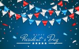 Ilustracyjny Patriotyczny tło z chorągiewką Zaznacza dla Szczęśliwych prezydentów dni i folia confetti , kolory usa Wektorowy ill royalty ilustracja