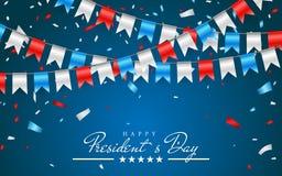 Ilustracyjny Patriotyczny tło z chorągiewką Zaznacza dla Szczęśliwych prezydentów dni i folia confetti , kolory usa Wektorowy ill ilustracji