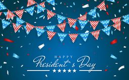 Ilustracyjny Patriotyczny tło z chorągiewką Zaznacza dla Szczęśliwych prezydentów dni i folia confetti, kolory usa Wektorowy Illu ilustracji