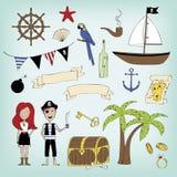 ilustracyjny pirata raster setu wektor Zdjęcie Stock