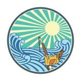 Ilustracyjny połów w wodzie z retro stylem ilustracja wektor