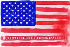 Ilustracyjny pomysł dla Huraganowego Florencja zalewa wschodnie wybrzeże Stany Zjednoczone ilustracji