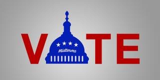 Ilustracyjny pomysł dla 2018 USA połowa semestru wybory - Głosuje Demokrata ilustracja wektor