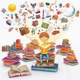 Ilustracyjny rendering mała młoda imbirowa chłopiec czyta książkę obrazy royalty free