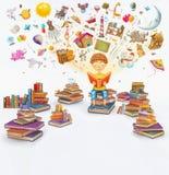 Ilustracyjny rendering mała młoda imbirowa chłopiec czyta książkę na białym tle zdjęcie stock