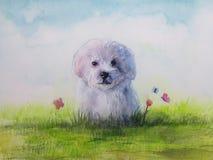 ilustracyjny szczeniaka pies w łące z kwiatem i motylem royalty ilustracja