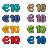 Ilustracyjny wektor ceny 10 euro, Europa waluta ilustracja wektor
