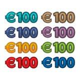 Ilustracyjny wektor ceny 100 euro, Europa waluta Zdjęcia Royalty Free