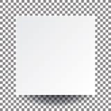 Ilustracyjny wektorowy pusty biały kwadratowy papier i istny cień, my Obrazy Stock