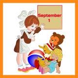 Ilustracyjny Wrzesień 1st w ramie, dziewczyny uczennicy pierwszy cla Obraz Royalty Free