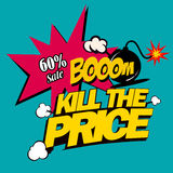 Ilustracyjny zwłoka cena, super rabaty w komicznym przełazie na płaskim projekcie, Zdjęcie Royalty Free
