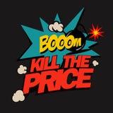 Ilustracyjny zwłoka cena, super rabaty w komicznym przełazie na płaskim projekcie, Fotografia Stock