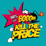Ilustracyjny zwłoka cena, super rabaty w komicznym przełazie na płaskim projekcie, Obrazy Stock