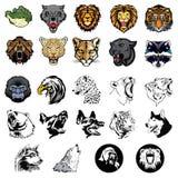 Ilustrado ajustado de animais selvagens e de cães ilustração royalty free