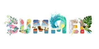 Ilustrado rotulando o verão Texto do vetor das férias ilustração do vetor