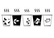 Ilustrador blanco y negro del vector del color del café de la taza fotografía de archivo