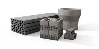 Ilustrador das páletes dos blocos de cimento e das placas em um whi Imagens de Stock Royalty Free
