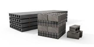 Ilustrador das páletes dos blocos de cimento e das placas em um whi Fotos de Stock