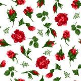 Ilustrador del vector del modelo inconsútil de las rosas rojas Fotos de archivo libres de regalías