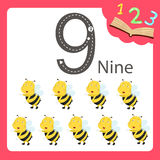 Ilustrador do animal de nove números Fotos de Stock