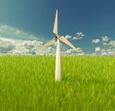 Ilustrador do moinho de vento no céu Fotografia de Stock